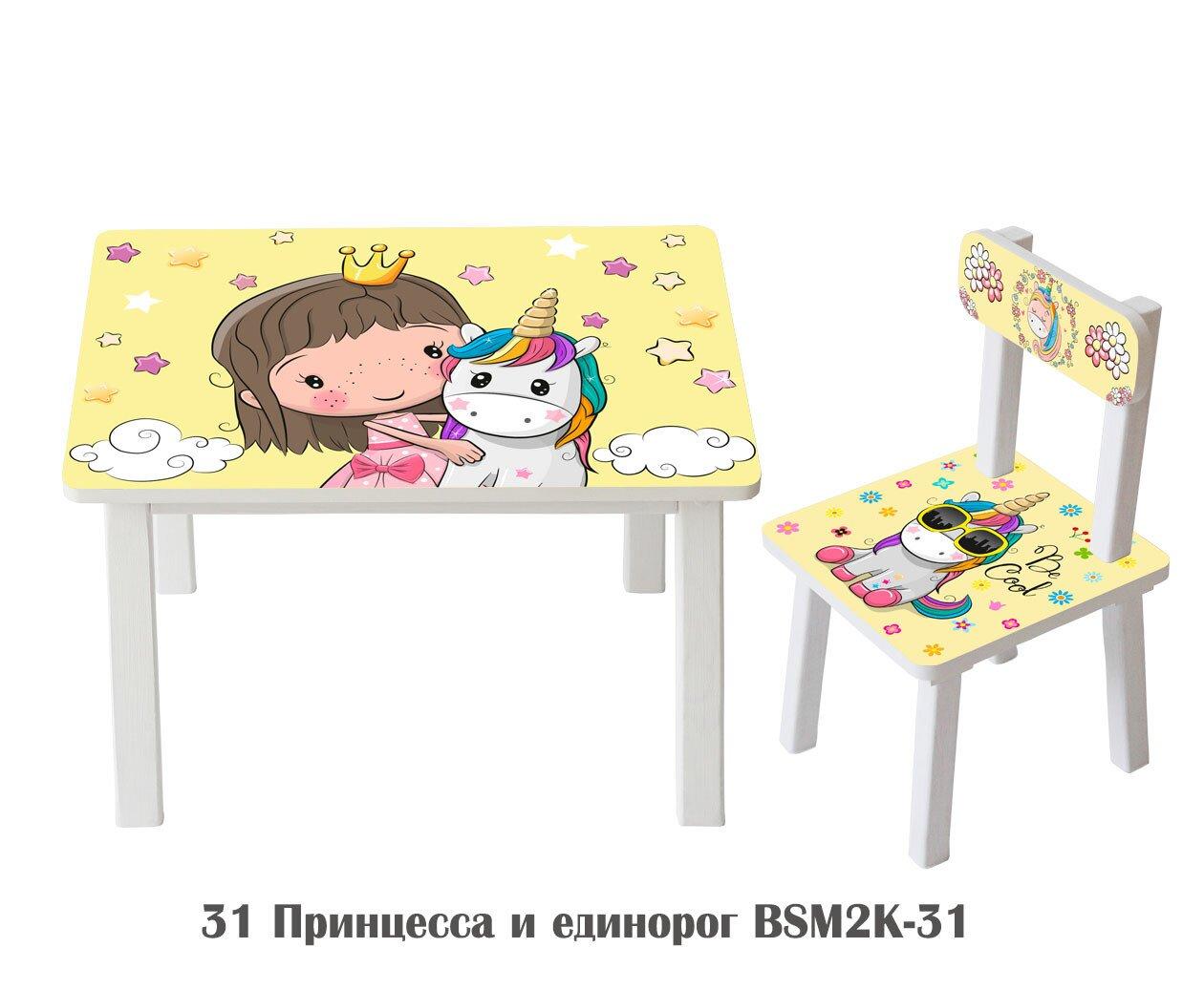 """Комплект стол и стул детский """"Принцесса с единорогом ..."""